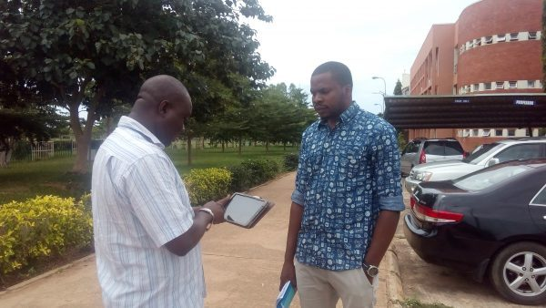 Pre-test of mobile questionnaire (ODK) by a participant in FUT Minna