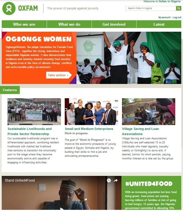 Oxfam Nigeria corporate website design, training and support (Drupal)